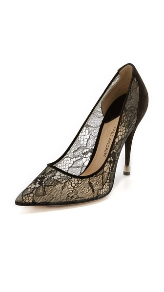Paul Andrew Sidai Lace & Suede Pumps In Black