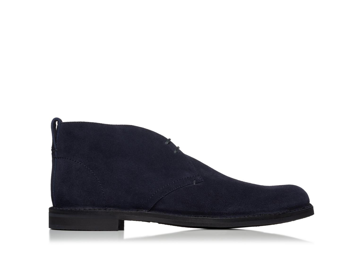 Tom Ford Ron Suede Desert Boot In Blue
