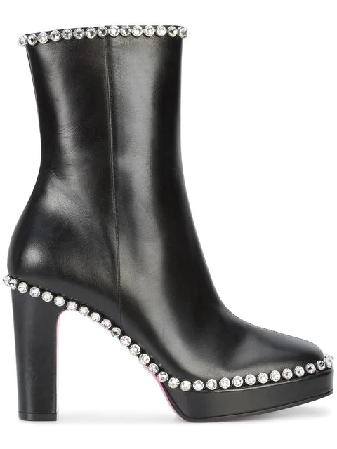 Gucci Olympia Crystal-Embellished Leather Platform Ankle Boots In Black