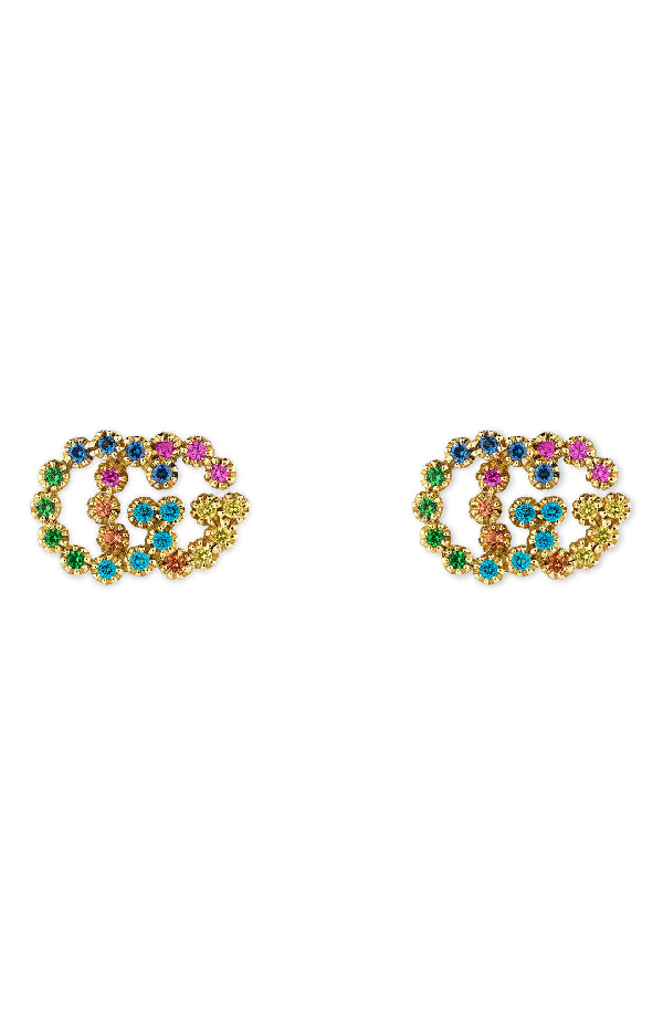 6bd82b2b98e Gucci 18K Yellow Gold Running G Mixed Gemstone Stud Earrings In Multicolor