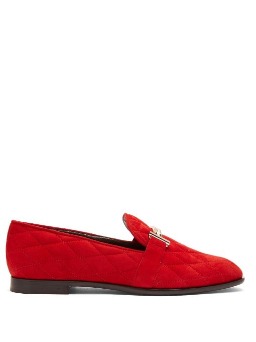 hot new products best wholesaler best supplier Tod's T-Bar Quilted-Suede Loafer In Red | ModeSens