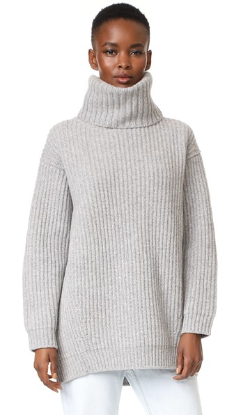 0115af0fc8e Acne Studios Disa Oversized Ribbed Wool Turtleneck Sweater In Pale Grey  Melange