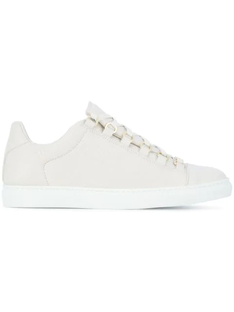 Balenciaga White Arena Crinkled Leather Sneakers In Nude