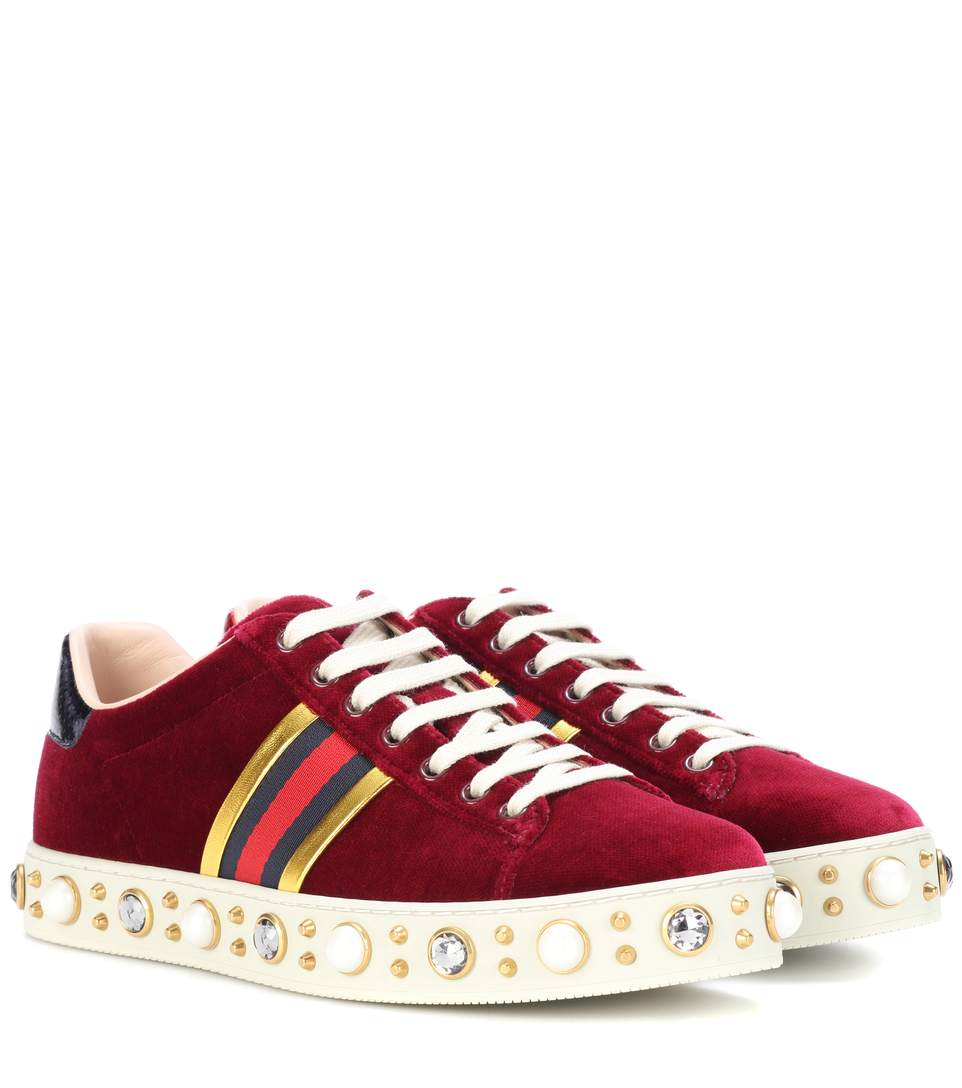 81318382a94 Gucci New Ace Faux-Pearl Embellished Velvet Trainers In Rosso