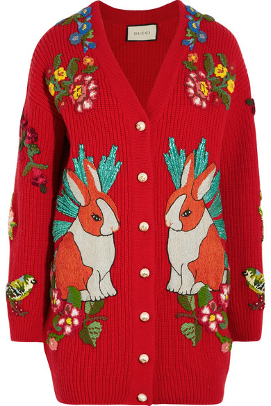9f96ba91b Gucci Oversized Embroidered Rabbit Knit Cardigan In Red   ModeSens