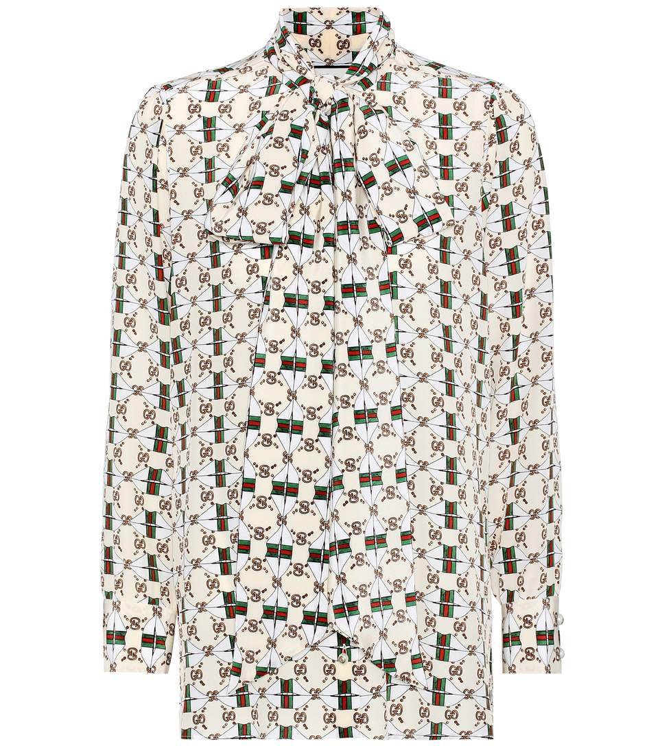 e95408d3961 Gucci Printed Silk Pussy-Bow Blouse In Multicoloured