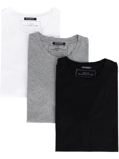 096643c1 Balmain Round Neck T-Shirts (Pack Of 3) In White | ModeSens