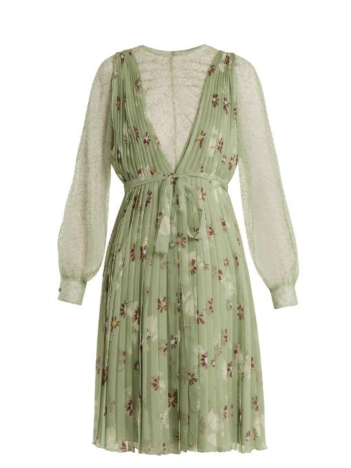 Valentino Floral-Print Lace-Trimmed Silk-Chiffon Dress In Green Print
