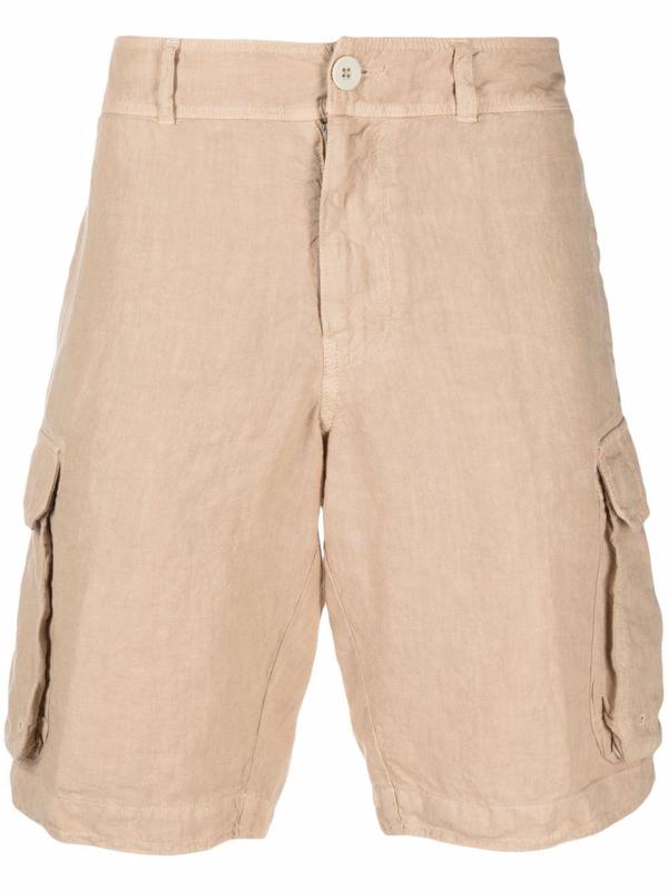 120% Lino Side Cargo-pocket Shorts In Neutrals