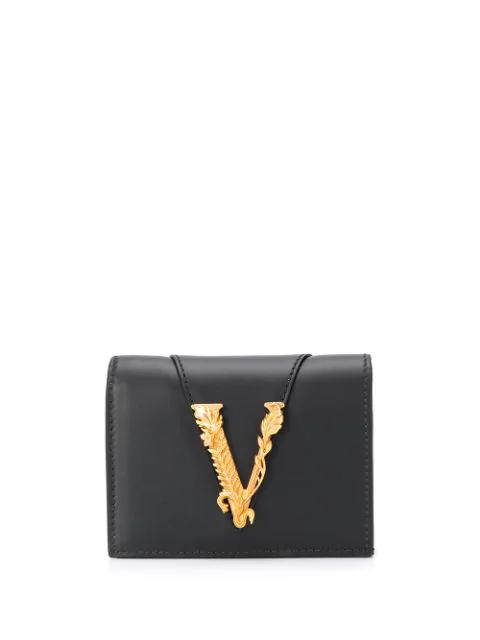 Versace Virtus Bifold Wallet In Black
