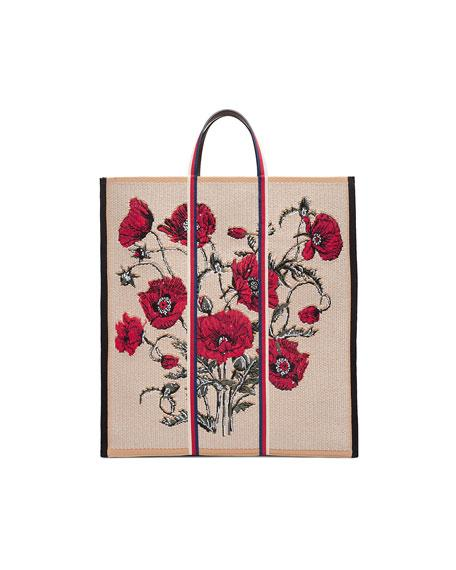 8bf926b8395 Gucci Embroidered Poppies Canvas Top Handle Tote - White In Beige   Red