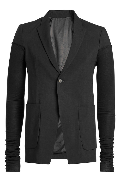 Rick Owens Ruched Sleeve Blazer In Black