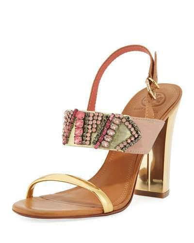 1af2dbc44 Tory Burch Tanner Jeweled 100Mm Sandal In Strawberry Pink
