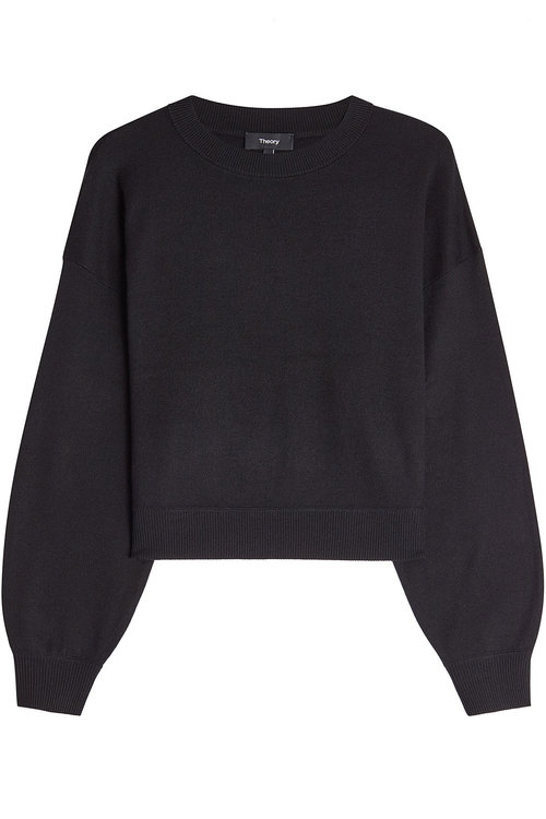 Theory Pullover With Silk And Cashmere In Black