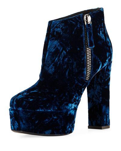Giuseppe Zanotti 120Mm Velvet Platform Ankle Boot In Black