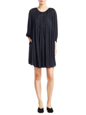 Elizabeth And James Florrie Pleated Shift Dress In Navy
