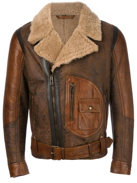 check out run shoes arriving Danescroft Leather-Trimmed Shearling Jacket in Brown
