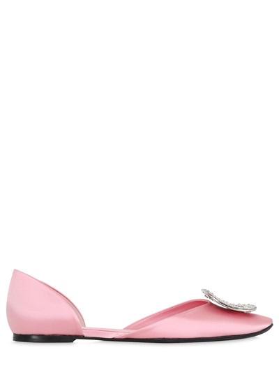 Roger Vivier 10Mm Chips Swarovski Satin D'Orsay Flats, Light Pink