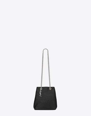 a4bd1d4345 Saint Laurent Classic Baby Emmanuelle Chain Bucket Bag In Black Crocodile  Embossed Leather