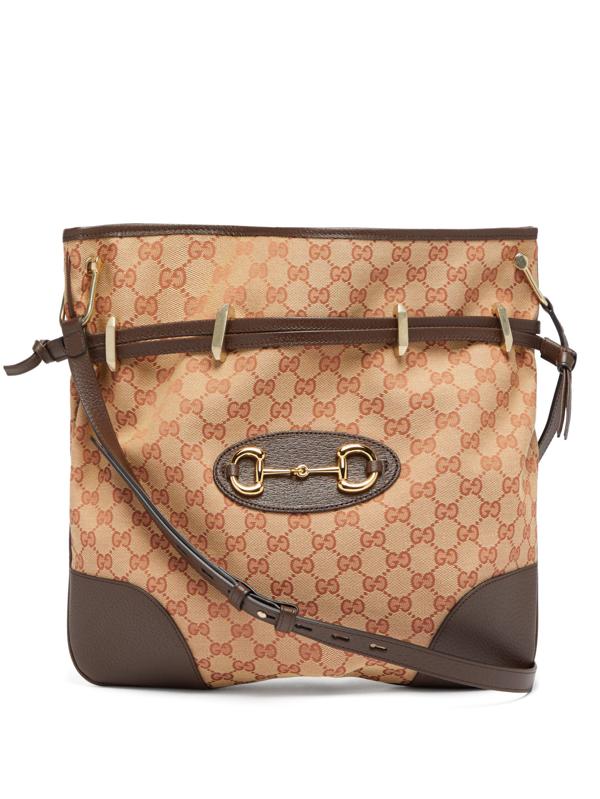 Gucci 1955 Horsebit Gg-jacquard Shoulder Bag In Beige Multi