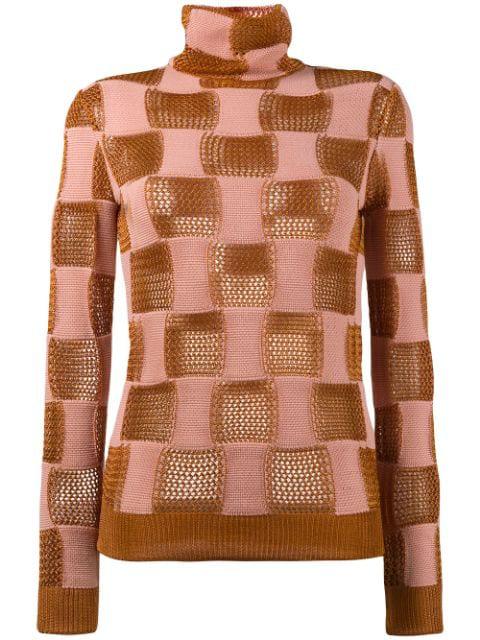 04587b9b6da1cc Marni Checker Open-Knit Turtleneck Sweater, Pink/Red   ModeSens