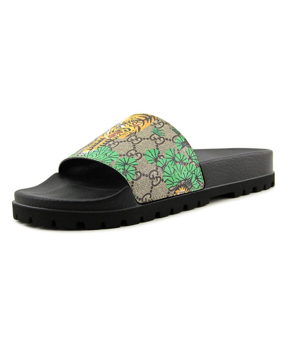 8c52e8b57dee Gucci Bengal Men Open Toe Synthetic Green Slides Sandal