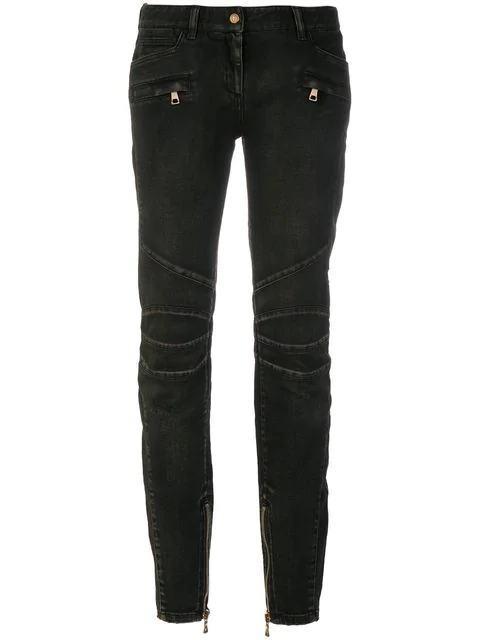 23aab9a8f2e Balmain Distressed Mid-Rise Skinny Jeans In Black | ModeSens