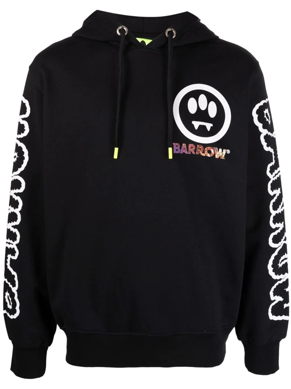 Barrow Graphic-print Cotton Hoodie In Black