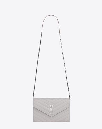 dddee4b3b7 Monogram Chain Wallet In Icy White Grain De Poudre Textured Matelassé  Leather