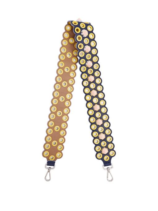 Fendi Strap You Eyelet Embellished Leather Bag Strap In Yellow Multi