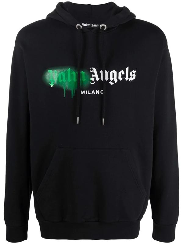 Palm Angels Milano Spray Logo Hoodie Black Green