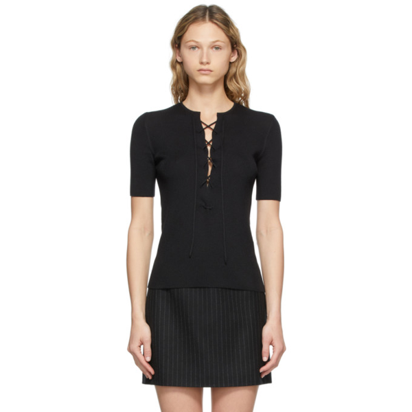 Saint Laurent Lace-up Wool, Cashmere And Silk-blend Top In 1000 Black