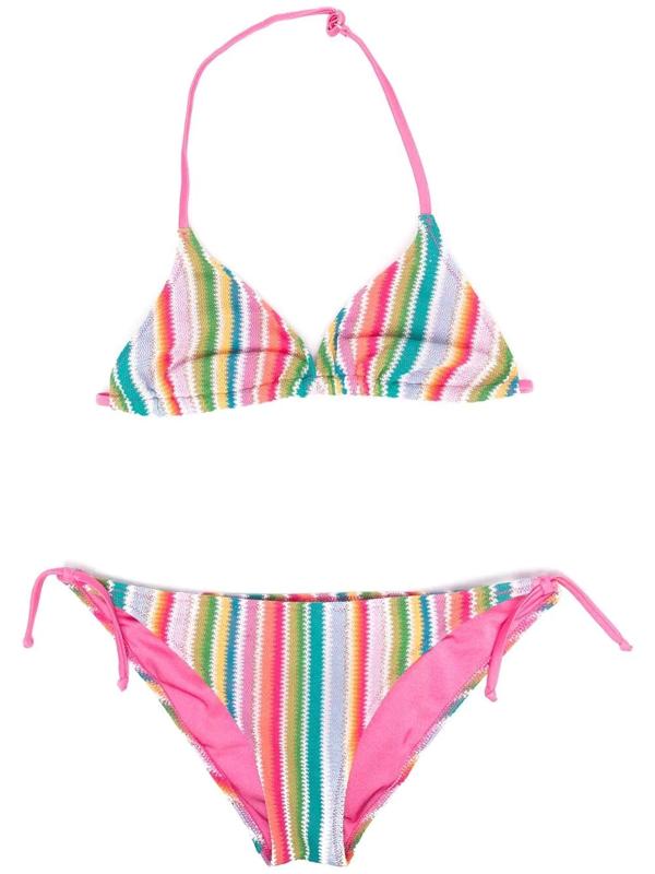 Mc2 Saint Barth Kids' Mexican Patterned Bikini In Pink
