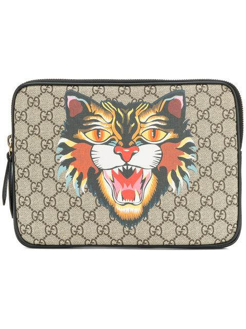 f19365855d47 Gucci Angry Cat Print Gg Supreme Laptop Case In Beige | ModeSens