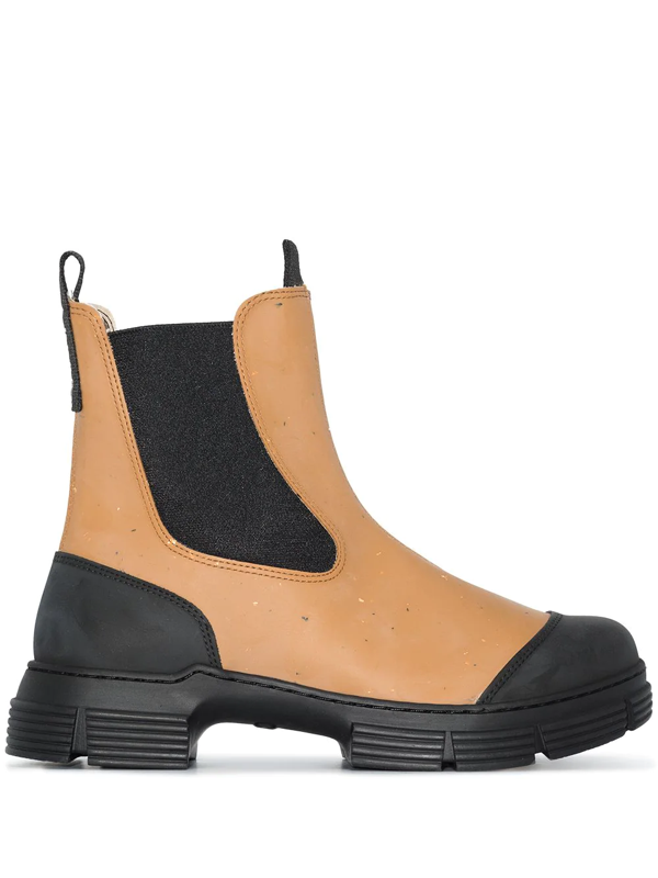 Ganni Two-tone Chunky Chelsea Boots In Braun