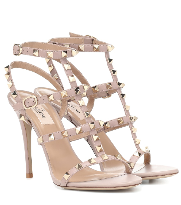 e878e0f50f08a Valentino Rockstud 105Mm Caged Leather Sandals In Baby Pink | ModeSens