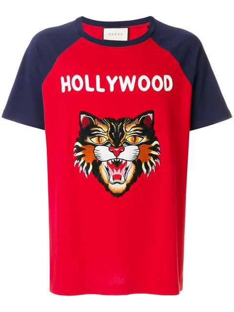 70489d5542b4 Gucci T-Shirt Pure Cotton T-Shirt With Angry Cat Maxi Patch And Hollywood