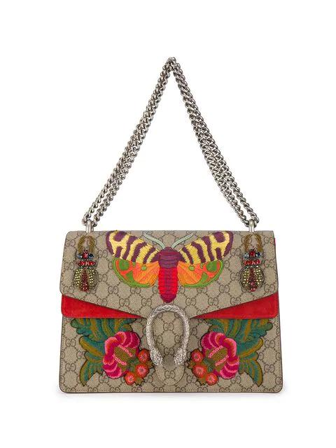 e6493e375ce7 Gucci Medium Dionysus Embroidered Gg Supreme Canvas & Suede Shoulder Bag -  Beige In Multicolour