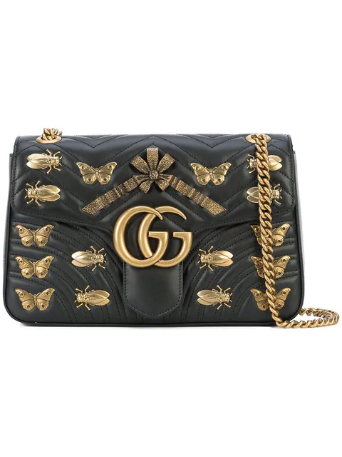 e3bb546fe324 Gucci Medium Gg Marmont 2.0 Animal Stud Matelasse Leather Shoulder Bag -  White In Black