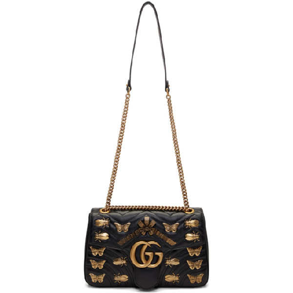 33c860e33b66 Gucci Medium Gg Marmont 2.0 Animal Stud Matelasse Leather Shoulder Bag -  White In Black