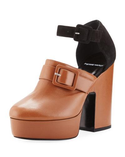 Pierre Hardy Crash Leather & Suede Platform Clog In Black/Brown