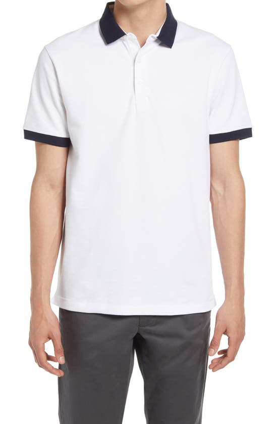French Connection Ampthill Tipped Polo Shirt In White/ Marine