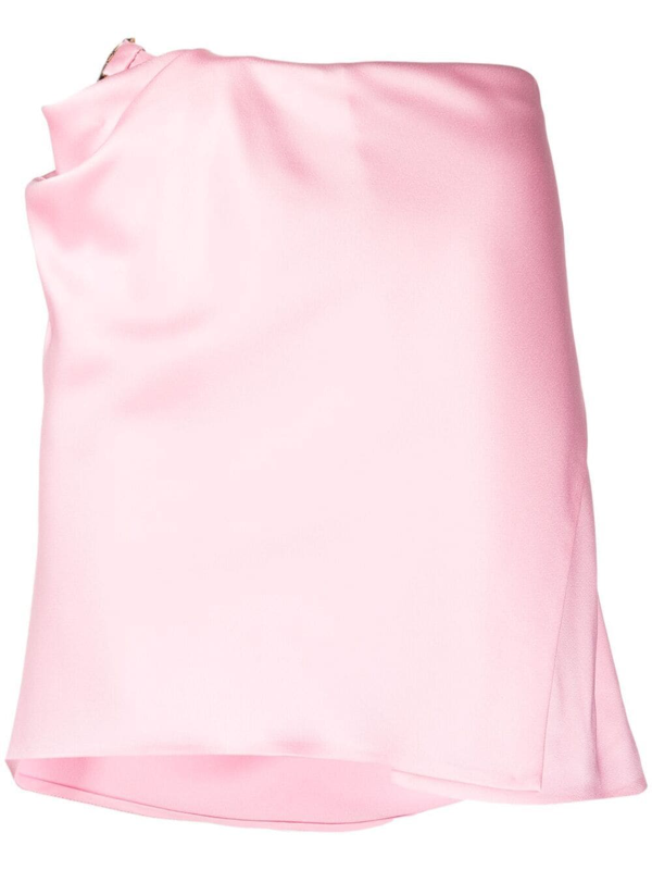 Versace Mini Skirt With Draped Cut And Medusa Detail In Pink