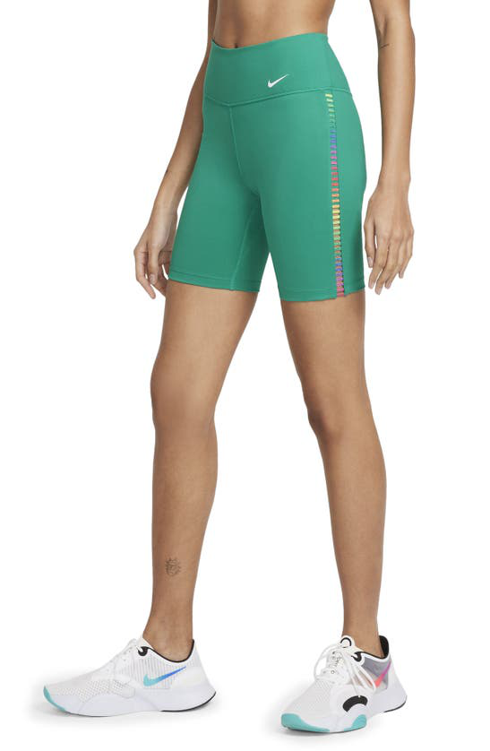 "Nike One Rainbow Ladder Women's 7"" Shorts In Neptune Green/ White"