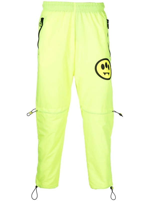Barrow Smiley-motif Track Pants In Yellow