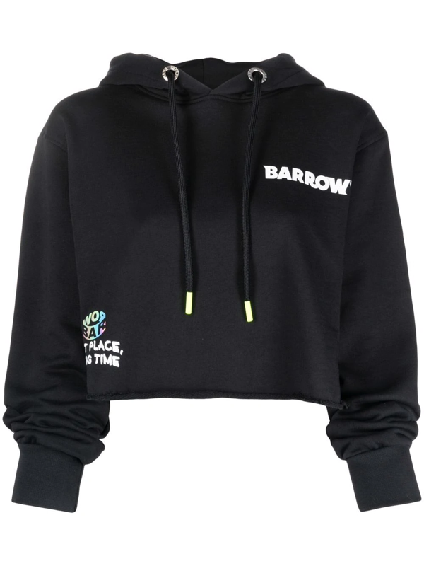 Barrow Black Crop Hoodie With Planet Logo And Rhinestones