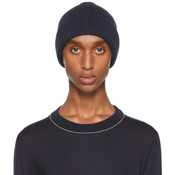 Maison Margiela Navy Blue Cotton And Wool Beanie In 511f Navy