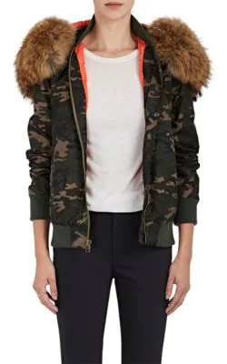 690a65afb5e Mr   Mrs Italy Fur-Trimmed Camouflage Bomber Jacket In Dk. Green ...