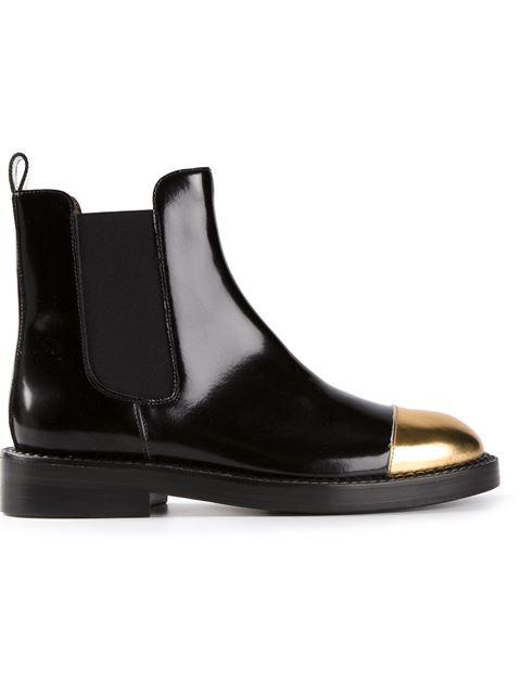 1e9f5f3fa998 Marni Black Leather Gold Toe Chelsea Boots In Coal