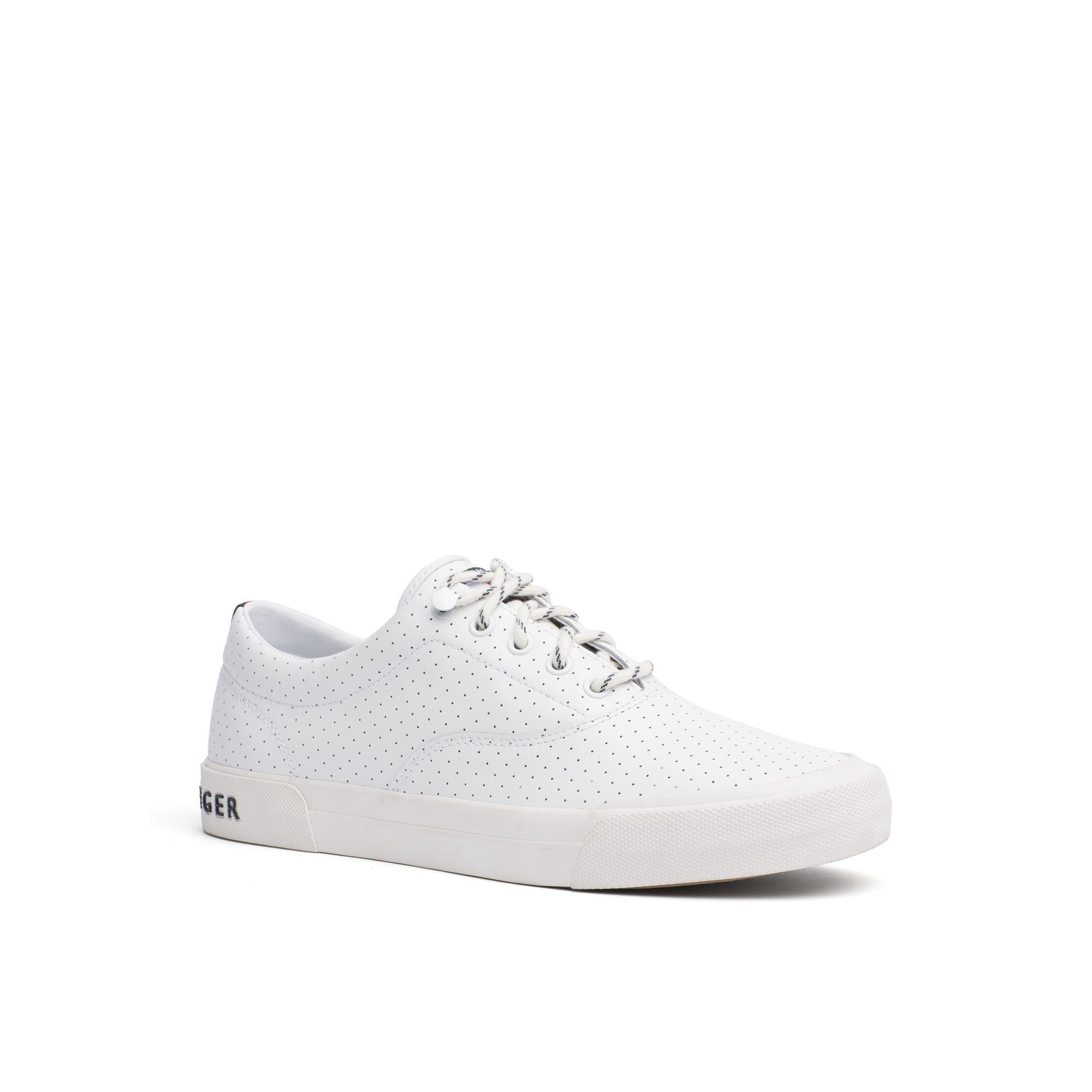 134dc1c74b4fc1 Tommy Hilfiger Perforated Leather Sneaker - White